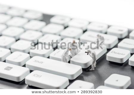 Stockfoto: Groep · miniatuur · macro · foto · computer