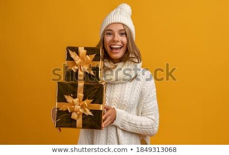 Cadeau posant élégante belle femme rouge Photo stock © oleanderstudio