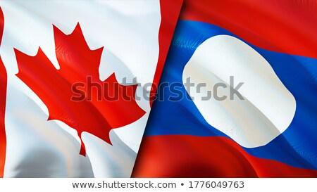 Kanada Laos flagi puzzle odizolowany biały Zdjęcia stock © Istanbul2009