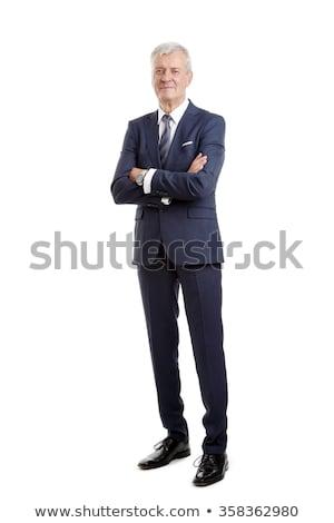 gelukkig · senior · zakenman · glimlachend · grijs · haar · zwart · pak - stockfoto © ozgur