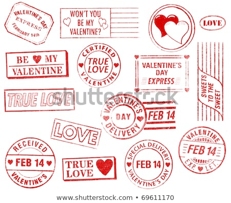 set of 15 valentines day stamps stock photo © 3mc