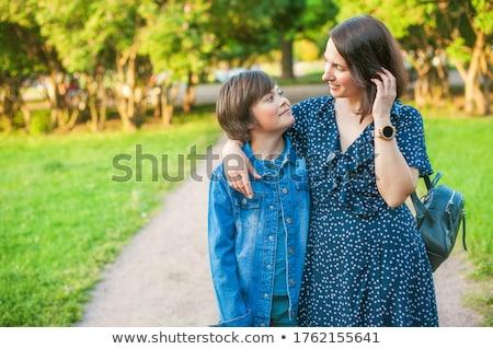 Anya fiú szabadtér jókedv ázsiai gyerek Stock fotó © szefei