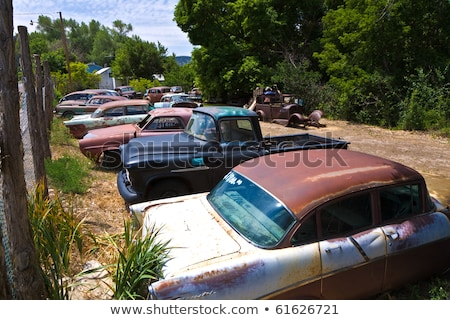junk yard with old beautiful oldtimers  Stock photo © meinzahn