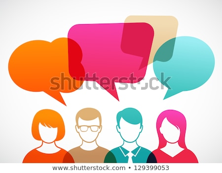 Stock photo: Man and woman with speech bubbles
