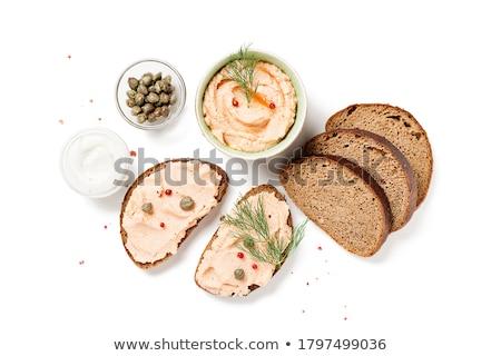 Salatalık turşusu hizmet ekmek et tahta jambon Stok fotoğraf © Klinker