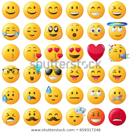 Smiley face emoji flat vector icons set Stock photo © vectorikart