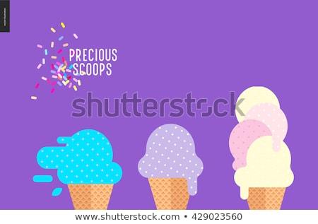 Crème glacée violette évider gaufre cône vecteur Photo stock © grivina