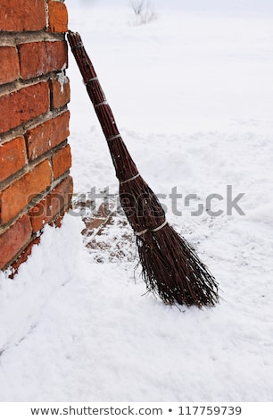 Vassoura cabo de vassoura neve cópia espaço trabalhar natureza Foto stock © zurijeta