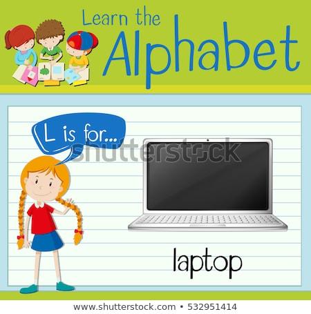 Letter l laptop illustratie toetsenbord achtergrond kunst Stockfoto © bluering