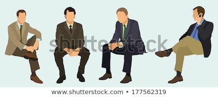 Férfiak ül lefelé fehér arc fa Stock fotó © bluering