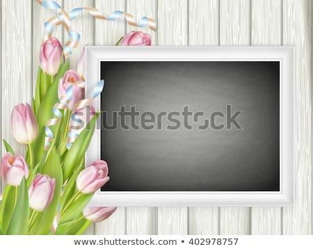 Cadre photo tableau eps 10 rose tulipes Photo stock © beholdereye
