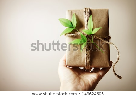 El Noel hediye çuval bezi yay yaratıcı Stok fotoğraf © ozgur