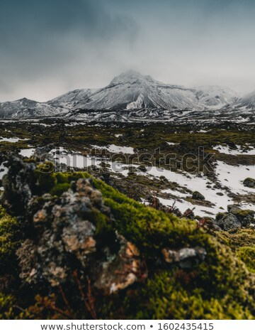 snowy volcano landscape with dramatic clouds in iceland stock photo © kb-photodesign