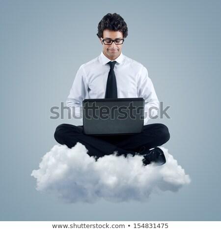 man using cloud computing technology stock photo © rastudio