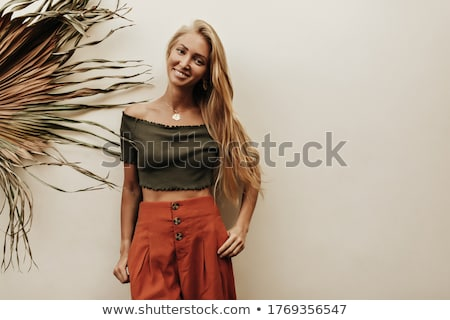 молодые · Cute · зеленый · Palm · улыбаясь - Сток-фото © iordani