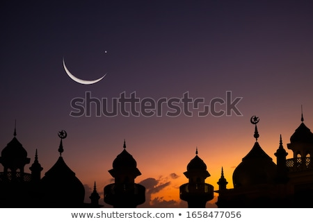 mosque silhouette in night sky with crescent moon and star stock photo © sarts
