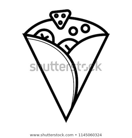 Crepe ikon terv absztrakt torta étterem Stock fotó © sdCrea
