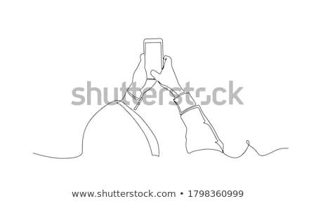 kadın · telefon · yandan · görünüş · genç · kafkas - stok fotoğraf © deandrobot