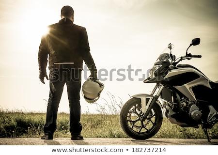 silueta · puesta · de · sol · deportes · moto · viaje - foto stock © homydesign