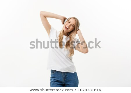 Stockfoto: Tiener · meisje · genieten · muziek · geïsoleerd · witte