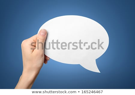 Female hand with speech bubble balloon as copy space Stock photo © stevanovicigor