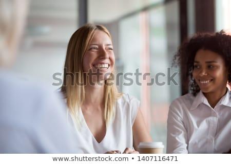 sorridente · jovem · barbudo · empresário · escritório - foto stock © rastudio
