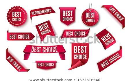 Stock photo: Vector best choice red label with ribbons.