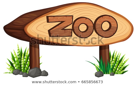Zoo sign made of rock Stock photo © bluering