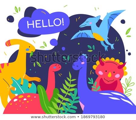 vector flat style set of colorful prehistoric dinosaurs stock photo © curiosity