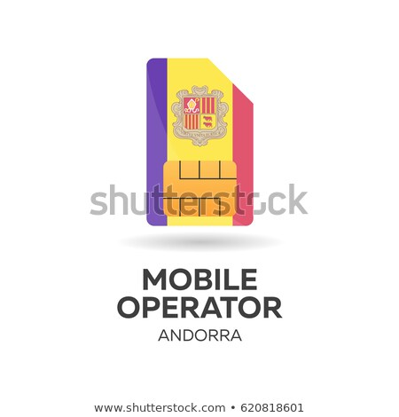 Andorra mobile operator. SIM card with flag. Vector illustration. Stock photo © Leo_Edition