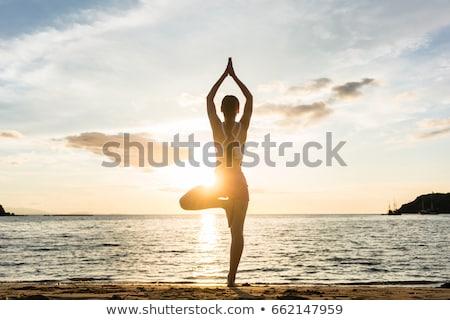Full length of woman practicing yoga in tree pose at beach Stock photo © wavebreak_media