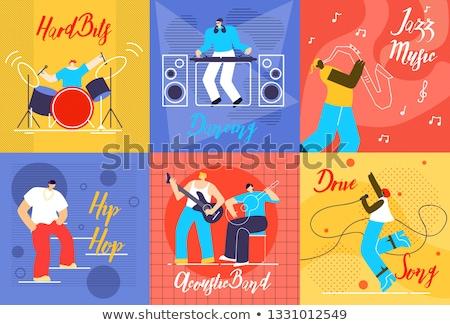 Zanger trommelaar discotheek verlicht concert Stockfoto © wavebreak_media