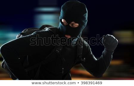 вора · сумку · деньги · черный · маске · изолированный - Сток-фото © studiostoks