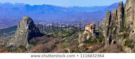 Landmarks of Greece - unique Meteora with hanging monasteries over rocks. Stock photo © Freesurf