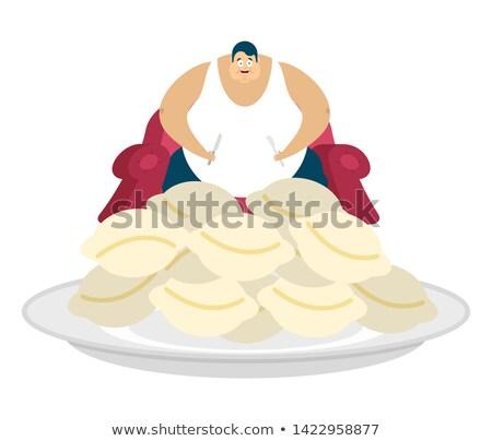 Grasso ragazzo seduta sedia uomo alimentare Foto d'archivio © popaukropa