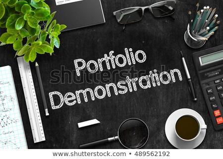 黒 黒板 ポートフォリオ デモ 3D レンダリング ストックフォト © tashatuvango