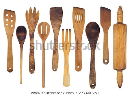 wooden kitchen utensils isolated on white background stock photo © vlad_star