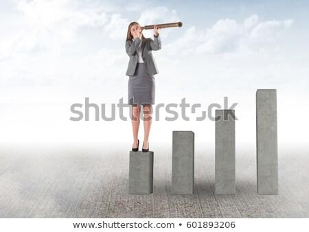 üzletasszony lövés égbolt nő öltöny portré Stock fotó © IS2