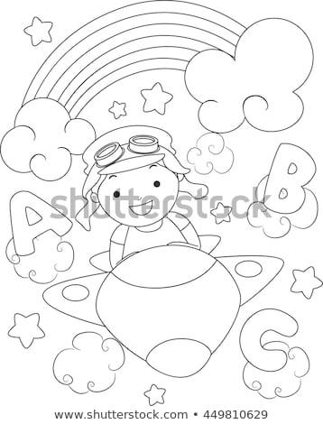 cartoon · vliegtuig · regenboog · hemel · wolken · vleugels - stockfoto © lenm