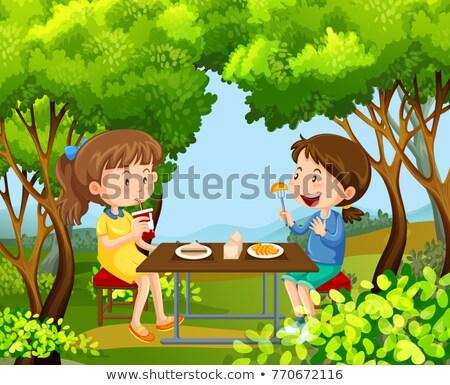 二 女孩 野餐 樹林 插圖 孩子 商業照片 © bluering