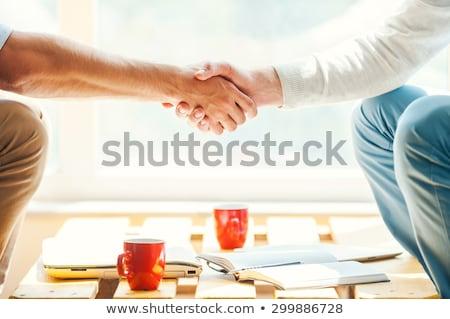 Tremer jovem mulher de negócios oferta aperto de mão isolado Foto stock © hsfelix