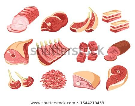 ストックフォト: 作品 · 肉 · ベーコン · ステーキ · 骨 · 孤立した