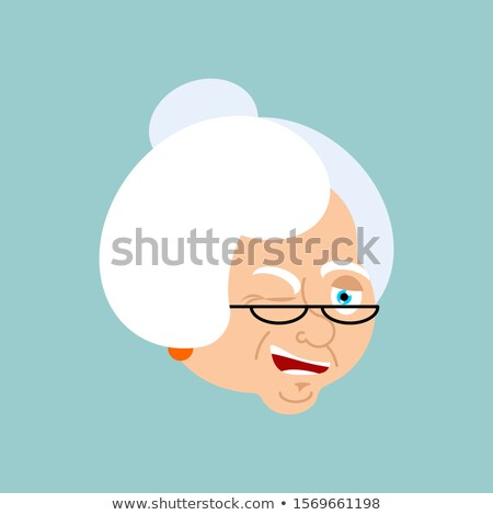 Grandmother winks emotion avatar. Face Grandma merry emoji. Old  Stock photo © popaukropa