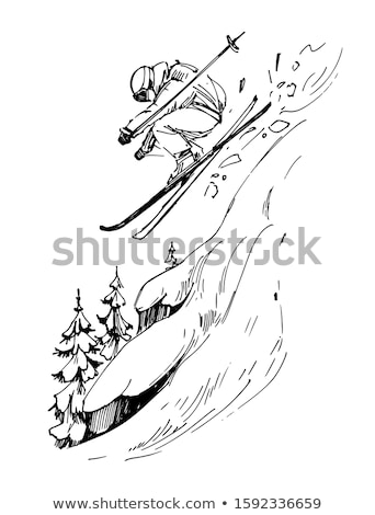 Winter Sport. Ski and Snowboard. Mountain landscape. Cableway. Vector illustration. stock photo © Leo_Edition