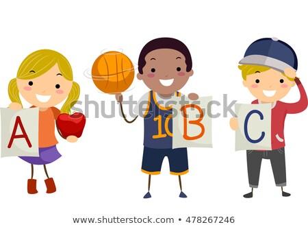 educação · desenho · animado · alfabeto · cartas · crianças · ilustração - foto stock © lenm