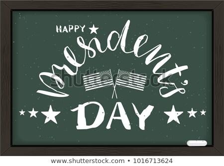 Boldog nap kézzel írott kalligráfia szöveg iskolatábla Stock fotó © orensila