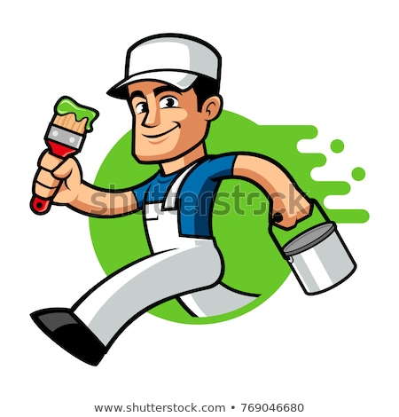 Zdjęcia stock: Cartoon Painter And Decorator Man