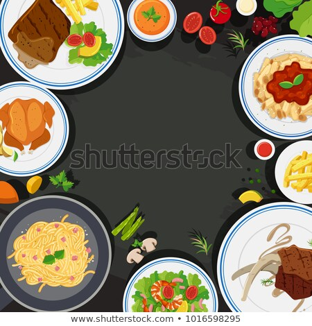 Background template with lambchop and fries Stock photo © bluering