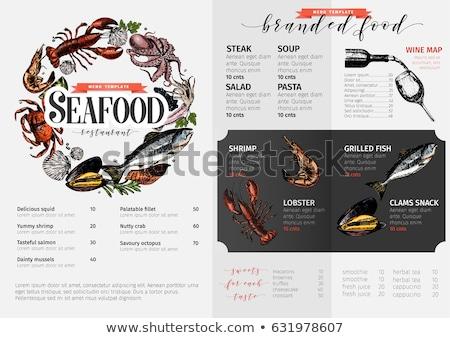 шаблон морепродуктов баннер иллюстрация кадр искусства Сток-фото © bluering