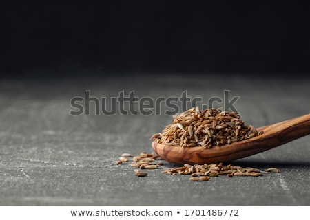 Stock photo: spoon of caraway seeds
